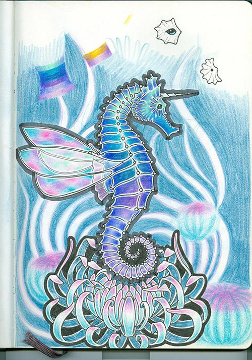 Seahorse and Chrysanthemum