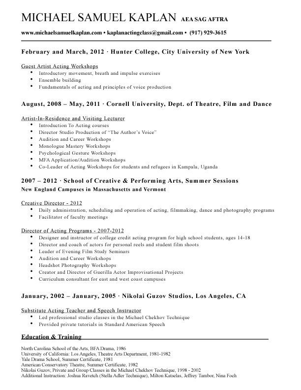 Michael Samuel Kaplan - Teaching Resume