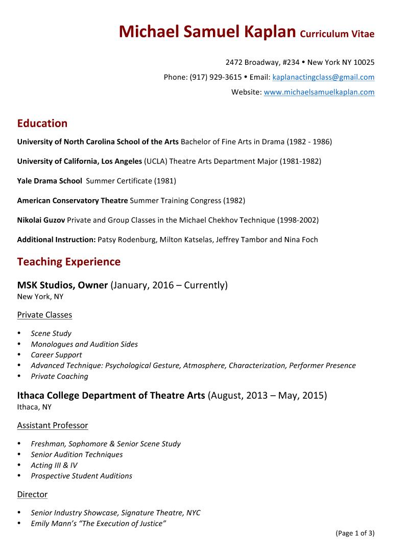Michael Samuel Kaplan Teaching Resume