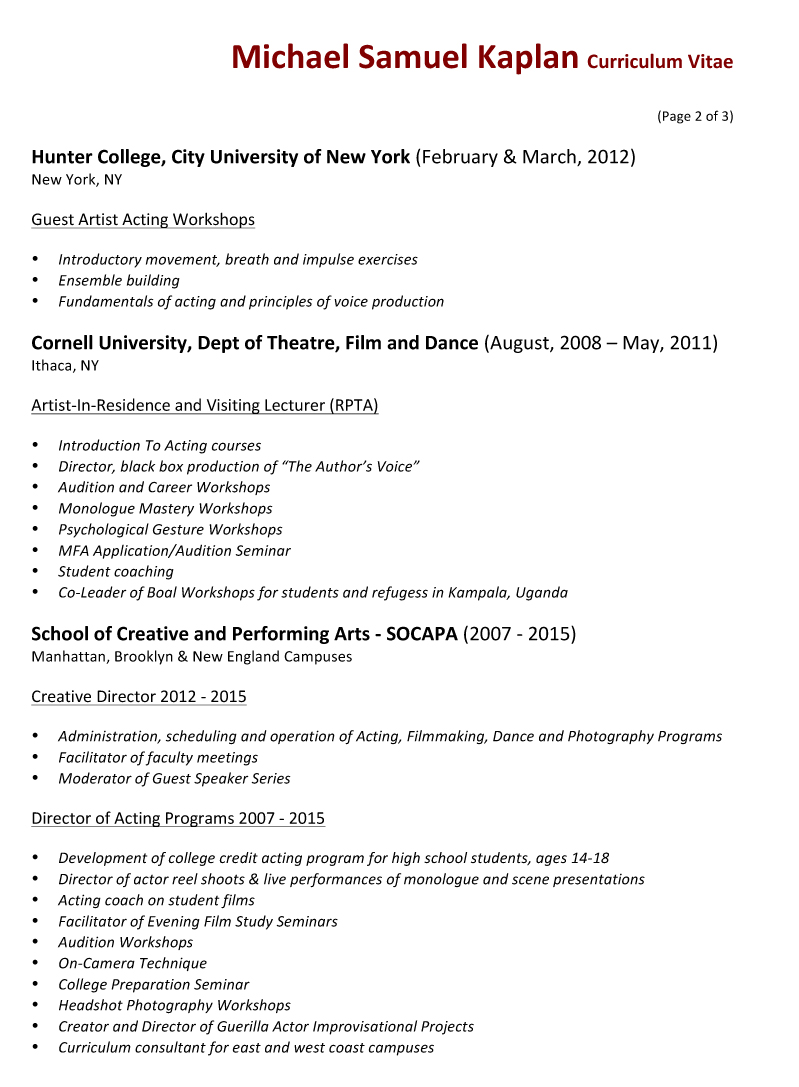 performing arts resume sles email resume format sle