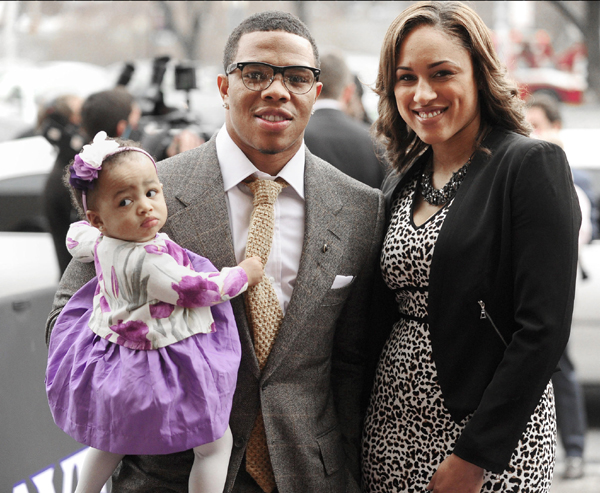 Ray Rice Is Shown With Daughter Rayven And Janay Palmer CREDIT Gene Sweeney Jr Baltimore Sun
