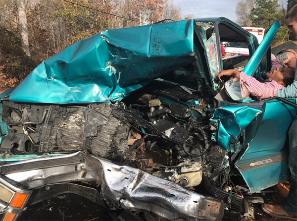 Cory Condrey's vehicle was totaled in the car wreck (Photo Credit: Twitter)