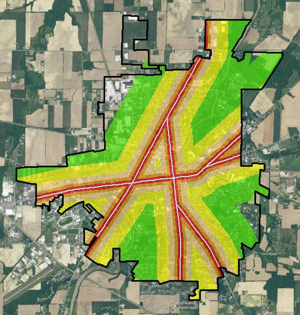 GIS real estate suitability-for this example, we apply a noise buffer for major roadways, though (as previously stated), there are different benefits of being within a distance of a major roadway.