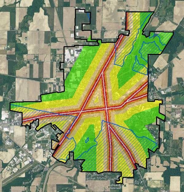 GIS real estate suitability-it can be seen that there are suitable areas that include major roadway buffers beyond 800 feet