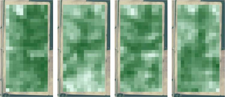 Landsat maps for 2011 soybeans, 2009 soybeans, 2007 soybeans, and 2006 corn
