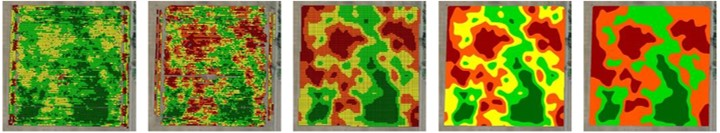 Corn Yield Map Cleaning Example. From left to right, maps are: raw, filtered, clean, polygons, and zones.