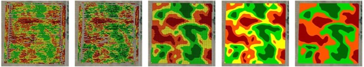 Soybean Yield Map Cleaning Example. From left to right, maps are: raw, filtered, clean, polygons, and zones.