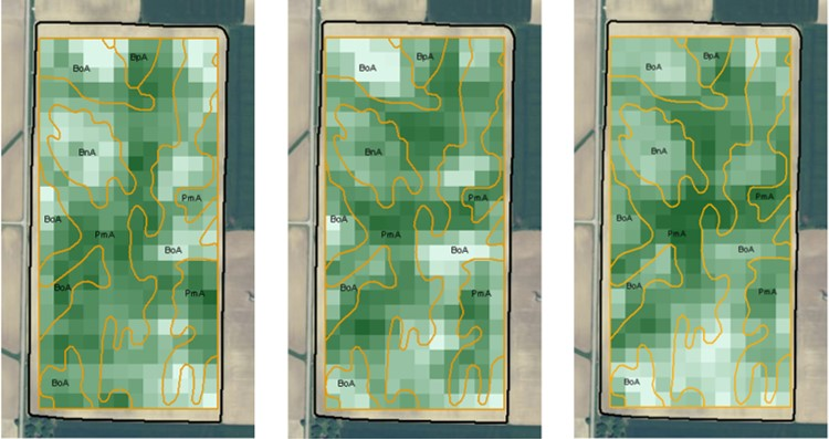 Landsat or Sentinel-2 satellite imagery Management Zone Layers for precision agriculture: Yield Correlation, Soil Darkness, Curvature, Hydrology