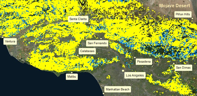 Landsat (7 or 8) NDWI-Based Shrub Fuel Moisture Content (FMC) Percent Mapping for Los Angeles, CA: 4/3/16 Landsat 8 NDWI-Based Fuel Moisture Content (FMC) Map