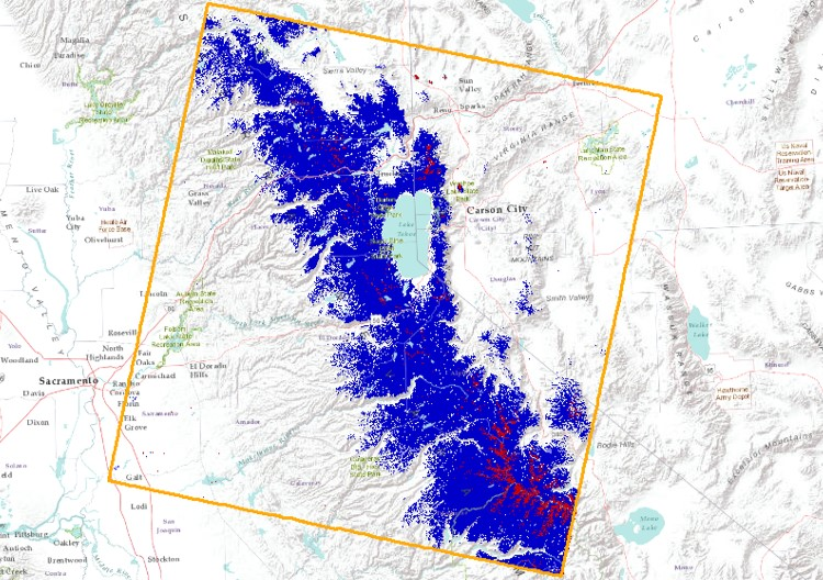 Landsat 7 & 8 Central Sierra Nevada NDSI Snow Map