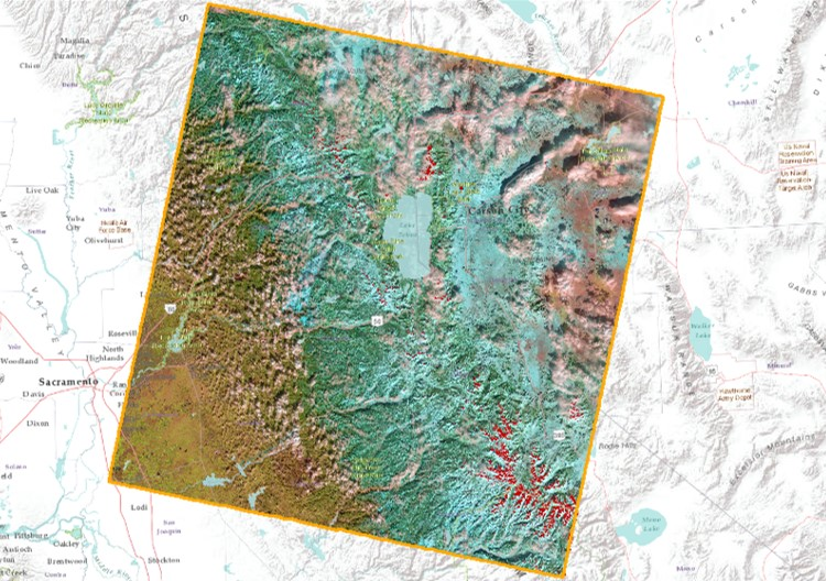 Landsat Central Sierra Nevada LandsatLook Natural Color Snow Map