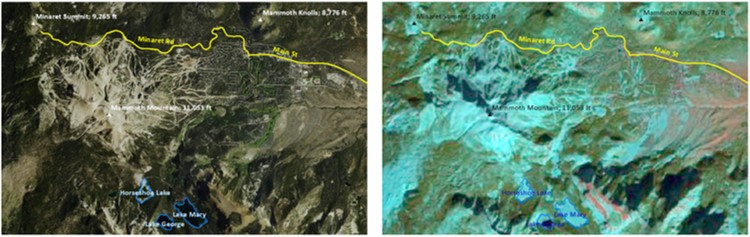 Landsat or Sentinel-2 satellite Mammoth Mountain snow map