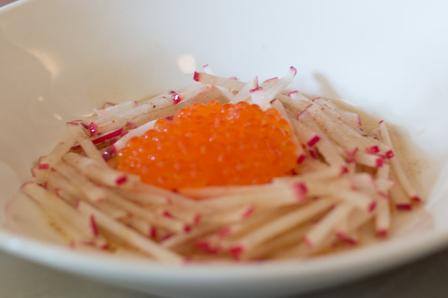 prune restaurant trout roe radishes brown butter