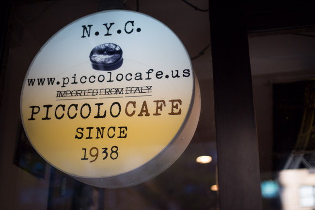 piccolo cafe sign