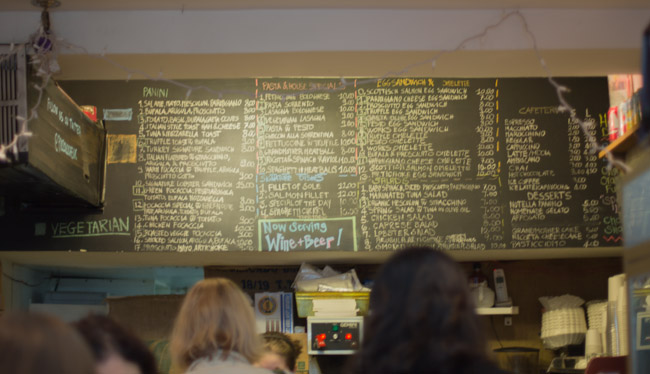 piccolo cafe chalkboard menu