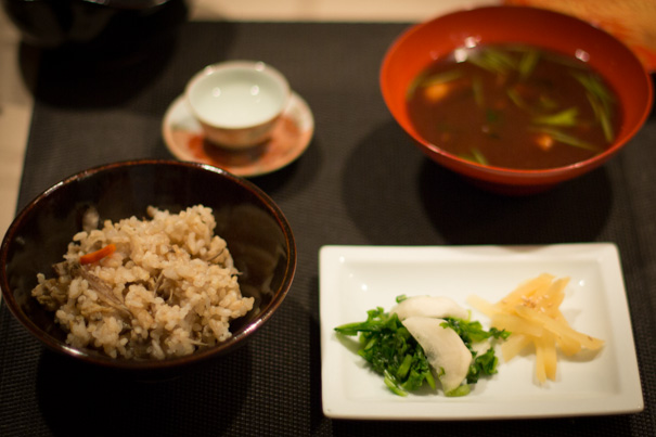 mom toshiko's kitchen kaiseki brown rice clams burdock root red miso soup