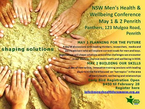 Shaping Solutions: NSW Men's Health & Wellbeing Conference – May 1 & 2 2014 | Men's Health Forum NSW