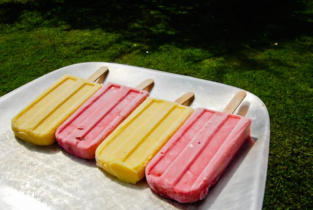 Fresh garden strawberry and non-garden mango-yogurt-ginger popsicles ...
