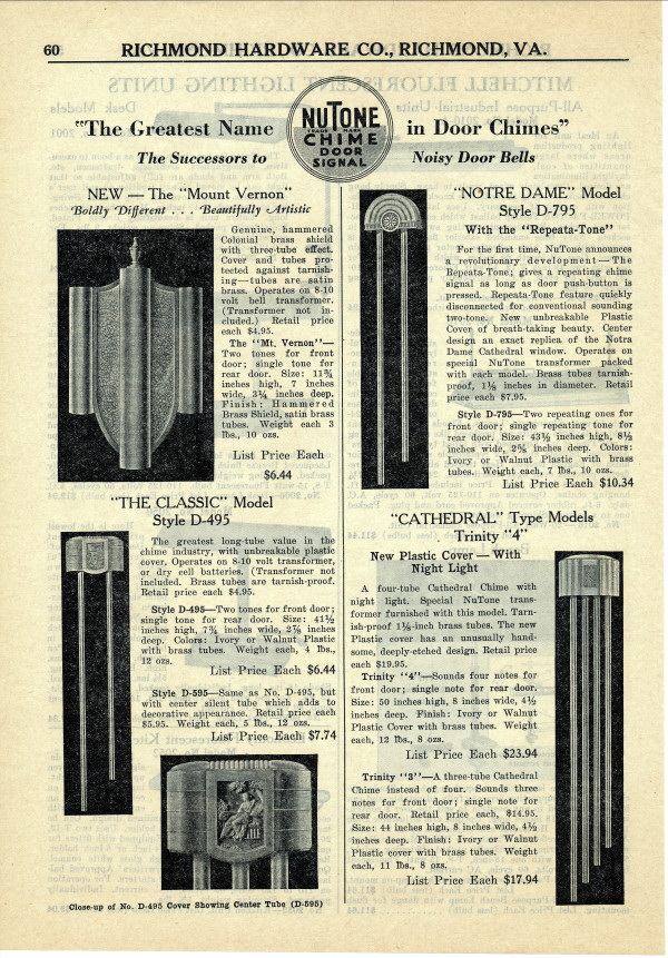 your site name vintage nutone door chimes
