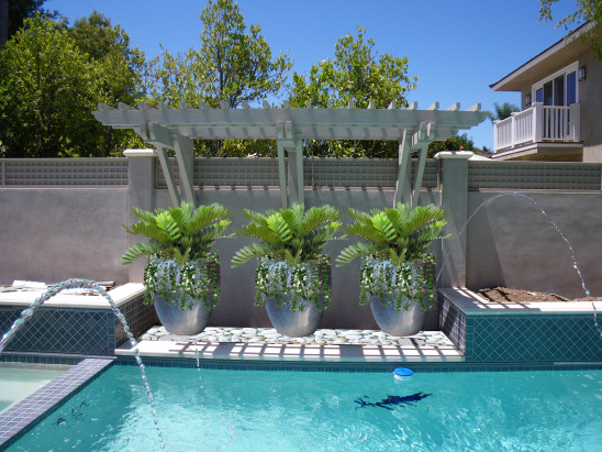 Landscape design portfolio residential tsai pool planter rendering for Best plants around swimming pool