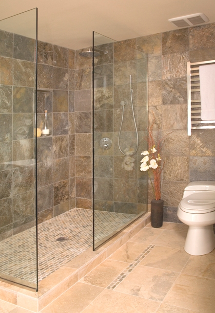 Open shower without door portfolio interior designer for Bathroom designs open showers