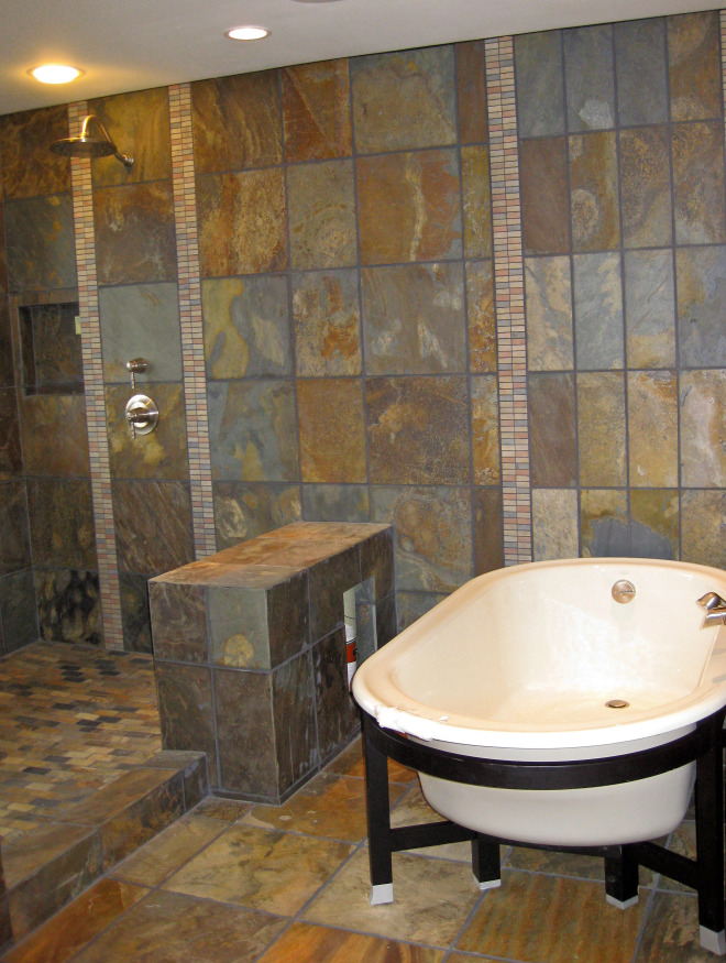 Nw lodge style open shower in bellevue featured products for Bathroom designs open showers