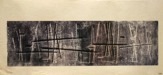 "<p>Harry Bertoia<br />Untitled, 1597<br />c. 1950's<br />Ink on Paper<br />10"" x 21""<br /></p>"