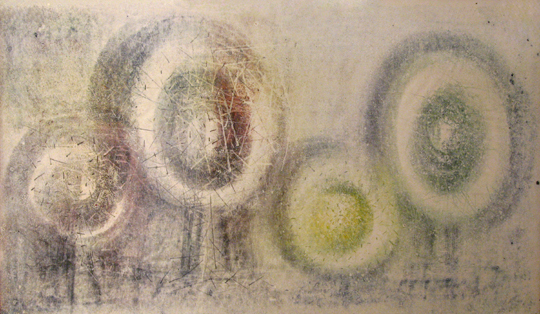 "Harry Bertoia<br>Untitled, Red and Green Bulbs<br>c. 1960's<br>Ink on Paper<br>25"" x 40"" <br>"