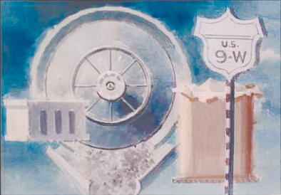 "<p><span style=""font-size: 80%;"">Walter Tundy Murch<br /><em>Route 9W, Hubcap, Sack</em><br />1956<br />Mixed Media and Collage<br />12 1/2 x 10""</span></p>"