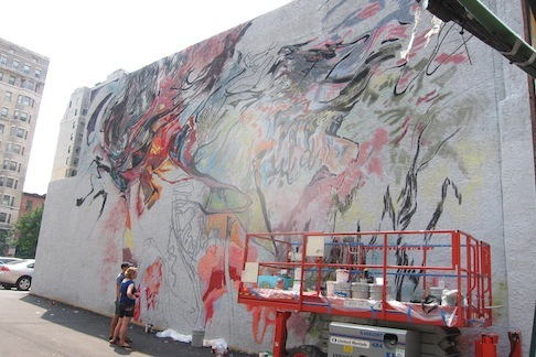 "<p><span style=""font-size: 80%;"">One week to go on Robert Goodman's mural project.</span></p>"