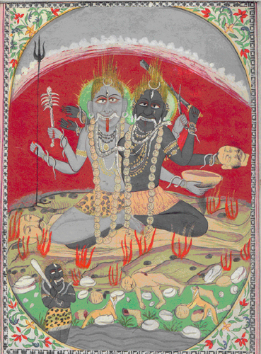 &lt;p&gt;&lt;span style=&quot;font-size: 80%;&quot;&gt;&lt;strong&gt;Black and gray Bhairavas (#2520/6)&lt;/strong&gt;&lt;br /&gt;Opaque water color on board&lt;br /&gt;&lt;/span&gt;&lt;span style=&quot;font-size: 80%;&quot;&gt;Pahari School&lt;br /&gt;&lt;/span&gt;&lt;span style=&quot;font-size: 80%;&quot;&gt;Circa mid 19th century&lt;br /&gt;14 cm x 18.5 cm / 5.50&quot; x 7.25&quot;&lt;span style=&quot;font-size: 80%;&quot;&gt;&lt;br /&gt;&lt;/span&gt;&lt;/span&gt;&lt;/p&gt;<br/>&lt;p&gt;&lt;span style=&quot;font-size: 80%;&quot;&gt;&lt;strong&gt;EXHIBITED:&lt;br /&gt;&lt;/strong&gt;&lt;/span&gt;&lt;span style=&quot;font-size: 80%;&quot;&gt;Lycoming College Gallery; Williamsport, Pennsylvania; 1981&lt;/span&gt;&lt;/p&gt;<br/>&lt;p&gt;&lt;span style=&quot;font-size: 80%;&quot;&gt;&lt;strong&gt;DESCRIPTION: &lt;br /&gt;&lt;/strong&gt;The two Bhairavas sitting posed on a &lsquo;sham-sham&rsquo;. The Bhairavas each with a third eye hold in their four arms symbols of Shiva. In the foreground are two jackals, rocks and the figure of Kali. The painting is encompassed in an oval format with colored foliate spandrels.&lt;/span&gt;&lt;/p&gt;<br/>&lt;p&gt;&nbsp;&lt;/p&gt;<br/>&lt;p&gt;&lt;span style=&quot;font-size: 80%;&quot;&gt;Placed in a private collection.&lt;/span&gt;&lt;/p&gt;