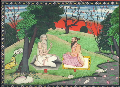&lt;p&gt;&lt;span style=&quot;font-size: 80%;&quot;&gt;&lt;strong&gt;A Holy Man and a Disciple (#2520/8)&lt;/strong&gt;&lt;br /&gt;Opaque watercolor paper&lt;br /&gt;Kangra School&nbsp;&lt;br /&gt;&lt;/span&gt;&lt;span style=&quot;font-size: 80%;&quot;&gt;Circa 1820&lt;br /&gt;&lt;/span&gt;&lt;span style=&quot;font-size: 80%;&quot;&gt;23.5 cm x 30.5 cm /9.25&rdquo; x 12&rdquo;&lt;/span&gt;&lt;/p&gt;<br/>&lt;p&gt;&lt;span style=&quot;font-size: 80%;&quot;&gt;&lt;strong&gt;EXHIBITED:&lt;br /&gt;&lt;/strong&gt;&lt;/span&gt;&lt;span style=&quot;font-size: 80%;&quot;&gt;Lycoming College Gallery; Williamsport Pennsylvania, 1981&lt;/span&gt;&lt;/p&gt;<br/>&lt;p&gt;&lt;span style=&quot;font-size: 80%;&quot;&gt;&lt;strong&gt;DESCRIPTION:&lt;/strong&gt; &lt;br /&gt;The yogi sitting cross-legged conversing with a younger man on the banks of a placid stream in a pastoral setting, The scene is set in an extremely fine detailed landscape against a luminous sky in the style of the Kangra school of painting. &lt;/span&gt;&lt;/p&gt;