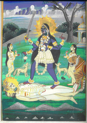 &lt;p&gt;&lt;span style=&quot;font-size: 80%;&quot;&gt;&lt;strong&gt;Kali on Siva/Sava&nbsp;(#2520/5)&lt;/strong&gt;&lt;br /&gt;Opaque watercolor/gilt on paper&lt;strong&gt;&nbsp;&lt;/strong&gt;&lt;br /&gt;Kangra School&lt;br /&gt;Circa 1800&lt;strong&gt;&nbsp;&lt;br /&gt;&lt;/strong&gt;&lt;/span&gt;&lt;span style=&quot;font-size: 80%;&quot;&gt;20 cm x 28 cm&lt;/span&gt;&lt;strong style=&quot;font-size: 80%;&quot;&gt; / &lt;/strong&gt;&lt;span style=&quot;font-size: 80%;&quot;&gt;8.0&rdquo; x 11&rdquo;&lt;/span&gt;&lt;/p&gt;<br/>&lt;p&gt;&lt;span style=&quot;font-size: 80%;&quot;&gt;&lt;strong&gt;EXHIBITED:&lt;br /&gt;&lt;/strong&gt;&lt;/span&gt;&lt;span style=&quot;font-size: 80%;&quot;&gt;Lycoming College Gallery; Williamsport, Pennsylvania 1981&lt;/span&gt;&lt;/p&gt;<br/>&lt;p&gt;&lt;span style=&quot;font-size: 80%;&quot;&gt;&lt;strong&gt;DESCRIPTION:&nbsp;&lt;/strong&gt; &lt;br /&gt;In this painting , Sakti is Kali, the Dark Goddess, the primordial power. Siva the corpse (Sava), lies supine on the funeral pyre in the cremation ground. The moment Kali, stepping lightly, lowers her raised foot and touches his chest, the corpse stirs; instilled with new life, he is Siva the beauteous god. Kali&#39;s four hands hold a lotus, shears, sword and severed head and wears a cotton doti, garland with human heads, golden arm bands and bracelets. In the near background two jackals and two attendants wait in anticipation. &lt;/span&gt;&lt;/p&gt;
