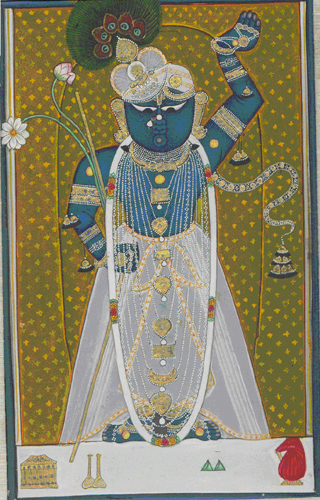 &lt;p&gt;&lt;span style=&quot;font-size: 80%;&quot;&gt;&lt;strong&gt;Khishina as Shri Nathji&nbsp;(#2514/17)&lt;/strong&gt;&lt;br /&gt;Opaque watercolor on paper&nbsp;&lt;br /&gt;Rajasthan School (Nathadwara)&nbsp;&lt;br /&gt;Circa 19th century&nbsp;&lt;br /&gt;&lt;/span&gt;&lt;span style=&quot;font-size: 80%;&quot;&gt;4.5 &ldquo;x 7.25&rdquo;&lt;/span&gt;&lt;/p&gt;<br/>&lt;p&gt;&lt;span style=&quot;font-size: 80%;&quot;&gt;&lt;strong&gt;EXHIBITED:&lt;br /&gt;&lt;/strong&gt;&lt;/span&gt;&lt;span style=&quot;font-size: 80%;&quot;&gt;Lycoming College Gallery , Williamsport Pennsylvania, 1981 .&lt;/span&gt;&lt;/p&gt;<br/>&lt;p&gt;&lt;span style=&quot;font-size: 80%;&quot;&gt;&lt;strong&gt;DESCRIPTION: &lt;br /&gt;&lt;/strong&gt;Khishina depicted as Shrinathji with the upraised arm symbolizing Shrinathji lifting Mount Govardhana to protect the residents of Vrindayan from Indra&rsquo;s destructive rains. The figure is shown holding lotus flowers and is richly adorned with a beaded necklace and peacock feather cap with a background of a rich embroidered tapestry.&lt;/span&gt;&lt;strong&gt; &lt;/strong&gt;&lt;/p&gt;