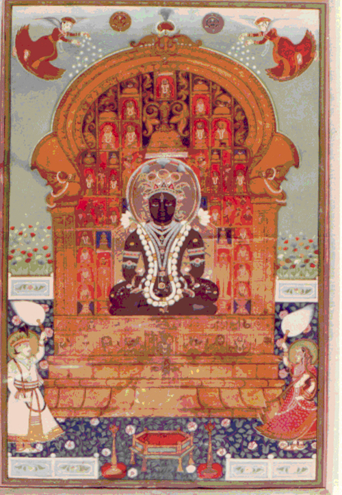 &lt;p&gt;&lt;span style=&quot;font-size: 80%;&quot;&gt;&lt;strong&gt;Mahavira Enthroned&nbsp;(#2513/5)&lt;/strong&gt;&lt;br /&gt;Opaque water color and gilt on paper&lt;br /&gt;Rajastan School (in Kishayark)&nbsp;&lt;br /&gt;&lt;/span&gt;&lt;span style=&quot;font-size: 80%;&quot;&gt;Circa 1700-1800; The throne in gold may have been executed as early as 1700, the surrounding figures , the green and blue surround and the floral design may have been added later in the early 1800&rsquo;s?&lt;br /&gt;&lt;/span&gt;&lt;span style=&quot;font-size: 80%;&quot;&gt;32.7cm x 45.7/12.9&rdquo; x 18.0&rdquo;&lt;/span&gt;&lt;/p&gt;<br/>&lt;p&gt;&lt;span style=&quot;font-size: 80%;&quot;&gt;&lt;strong&gt;EXHIBITED:&lt;br /&gt;&lt;/strong&gt;&lt;/span&gt;&lt;span style=&quot;font-size: 80%;&quot;&gt;Ithaca College Museum of Art Ithaca, New York, 1971&lt;/span&gt;&lt;/p&gt;<br/>&lt;p&gt;&lt;span style=&quot;font-size: 80%;&quot;&gt;Lycoming College Gallery, Williamsport Pennsylvania, 1981 &lt;/span&gt;&lt;/p&gt;<br/>&lt;p&gt;&lt;span style=&quot;font-size: 80%;&quot;&gt;&lt;strong&gt;DESCRIPTION: &lt;br /&gt;&lt;/strong&gt;A Jain painting with 21 Tirthankaras . The composition is organized to emphasize the throne portion of the painting with the surrounding figures confined. Mahavira , the largest figure encrusted with jewels dominates in black. The diminutive cognizance associated with the Tirthankara is on the base of the pedestal on which he rests. At the base of the altar are the Hindu deities which appear as subordinate gods and goddesses in the Jain pantheon. Before the altar two devotees wave white fly whisks; both the male and female are exact in all detail, both physiognomic and ornamental. Both are richly adorned with jewelry. In the foreground is a hexagonal table on a foliate pattern floor.&nbsp; Above, two winged fairies, supported by the wind which makes their skirts balloon, sprinkle the altar with blessings. The sun and moon are shown with faces. &lt;/span&gt;&lt;/p&gt;