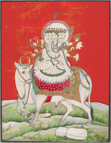 &lt;p&gt;&lt;span style=&quot;font-size: 80%;&quot;&gt;&lt;strong&gt;Sadasiva on &quot;Nandi&quot; Bull&nbsp;(# 2512/3)&lt;/strong&gt;&lt;br /&gt;Opaque watercolor and gold on paper&lt;br /&gt;Kangra School (Jammu)&nbsp;&lt;br /&gt;&lt;/span&gt;&lt;span style=&quot;font-size: 80%;&quot;&gt;Circa 1820 AD&lt;br /&gt;&lt;/span&gt;&lt;span style=&quot;font-size: 80%;&quot;&gt;16.5 cm x 20.3 cm/ 6.5&rdquo; x 8.0&rdquo;&lt;/span&gt;&lt;/p&gt;<br/>&lt;p&gt;&lt;span style=&quot;font-size: 80%;&quot;&gt;&lt;strong&gt;EXHIBITED:&lt;br /&gt;&lt;/strong&gt;&lt;/span&gt;&lt;span style=&quot;font-size: 80%;&quot;&gt;Ithaca College Museum of Art Ithaca, New York, 1971&lt;/span&gt;&lt;/p&gt;<br/>&lt;p&gt;&lt;span style=&quot;font-size: 80%;&quot;&gt;Lycoming College Gallery, Williamsport Pennsylvania, 1981 &lt;/span&gt;&lt;/p&gt;<br/>&lt;p&gt;&lt;span style=&quot;font-size: 80%;&quot;&gt;&lt;strong&gt;DESCRIPTION: &lt;br /&gt;&lt;/strong&gt;&ldquo;Sadasiva,&quot; the transcendental eternal. Shiva is shown eight-armed, dressed in diaphanous white embroidered robes, seated in a &lsquo;Vira&rsquo; (right leg on left thigh) position on a bed of lotus pedals which rest on the back of a richly caparison Nandi bull. The tonality of the painting is in sharp contrast; the rocky soil of the foreground, with sparse vegetation, is offset by a brilliant orange sky against which the figure of Sadsiva and Nandi are placed. Upon the five heads rest a Jata crown with a brilliant white nimbus edged in gold rays. The right hands hold trident, drum, ankusa (elephant goad), and noose. The left hands hold rosary, lotus blossom, Sula (a ritual wand for protection) and a fruit. The painting is executed with extremely fine detailed and craftsmanship.&lt;/span&gt;&lt;/p&gt;<br/>&lt;p&gt;&nbsp;&lt;/p&gt;<br/>&lt;p&gt;&lt;span style=&quot;font-size: 80%;&quot;&gt;Placed in a private collection.&lt;/span&gt;&lt;/p&gt;