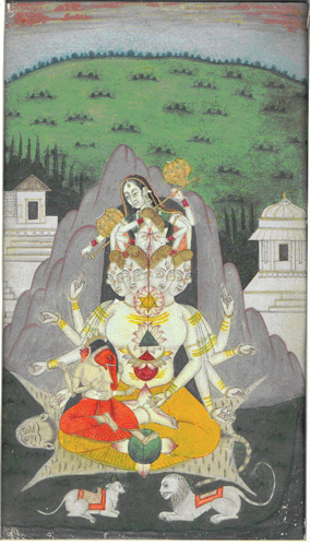 &lt;div class=&quot;footer&quot;&gt;<br/>&lt;p&gt;&lt;span style=&quot;font-size: 80%;&quot;&gt;&lt;strong&gt;Shiva&#39;s Family-Tantric Painting (#2521/2)&lt;br /&gt;&lt;/strong&gt;&lt;/span&gt;&lt;span style=&quot;font-size: 80%;&quot;&gt;Gouache on board&lt;br /&gt;&lt;/span&gt;&lt;span style=&quot;font-size: 80%;&quot;&gt;Mongul School/Tantric&lt;br /&gt;&lt;/span&gt;&lt;span style=&quot;font-size: 80%;&quot;&gt;Circa 1820&lt;br /&gt;&lt;/span&gt;&lt;span style=&quot;font-size: 80%;&quot;&gt;15.25 cm x 24.75 / 6.00&rdquo; x 9.75&rdquo;&lt;/span&gt;&lt;/p&gt;<br/>&lt;p&gt;&lt;span style=&quot;font-size: 80%;&quot;&gt;&lt;strong&gt;EXHIBITED:&lt;br /&gt;&lt;/strong&gt;&lt;/span&gt;&lt;span style=&quot;font-size: 80%;&quot;&gt;Lycoming College Gallery; Williamsport Pennsylvania, 1981&lt;/span&gt;&lt;/p&gt;<br/>&lt;p&gt;&lt;span style=&quot;font-size: 80%;&quot;&gt;&lt;strong&gt;DESCRIPTION: &lt;br /&gt;&lt;/strong&gt;Shiva seated on a tiger skin with heavily robed , multi- armed Parvati behind him playfully closing the eyes of his heads with her hands. Their elephant headed son Ganesh is seated on Shiva&rsquo;s lap. On Shiva&rsquo;s body are the Tantric - Yoga -Asana symbols assumed before mediation. Recumbent, on grass, in the foreground are their vehicles; Shiva&rsquo;s Nadi bull and Parvati&rsquo;s tiger. Shiva and Parvati are seated against a symbolic Mount Kailasa . In the background are pavilions and a rising mound of grass set in the light of a waning day.&lt;/span&gt;&lt;/p&gt;<br/>&lt;/div&gt;