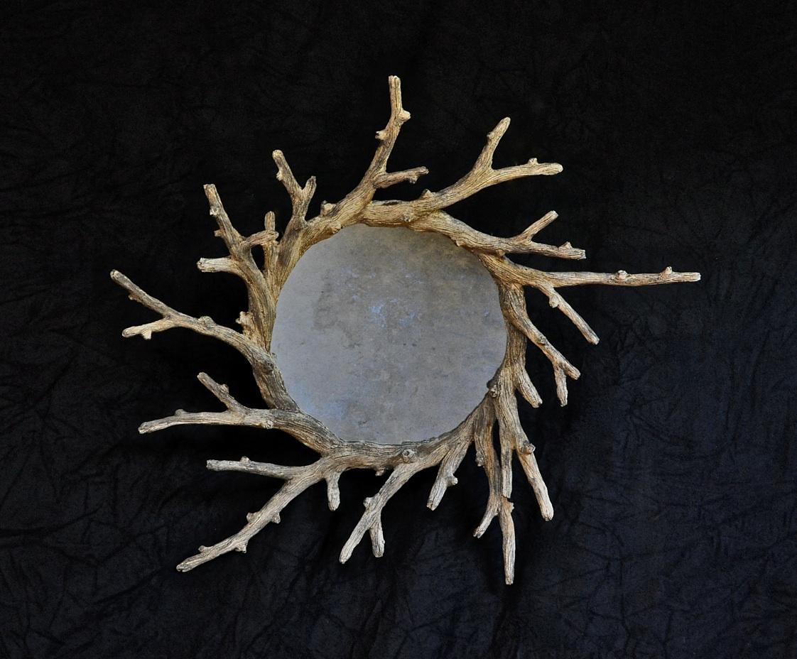 round faux bois mirror