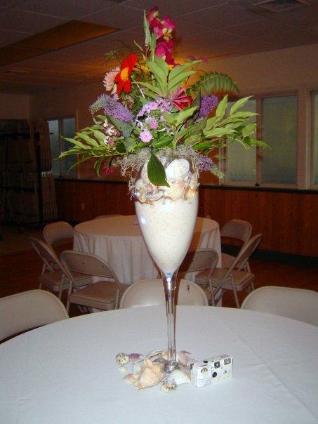 Floral design in large wine glass gold eventplanner