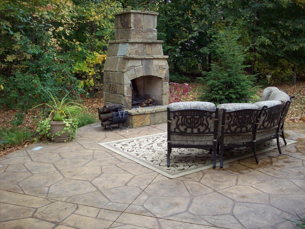 Stamped Concrete Fireplaces : Patio concrete stamper fireplace g custom back yard