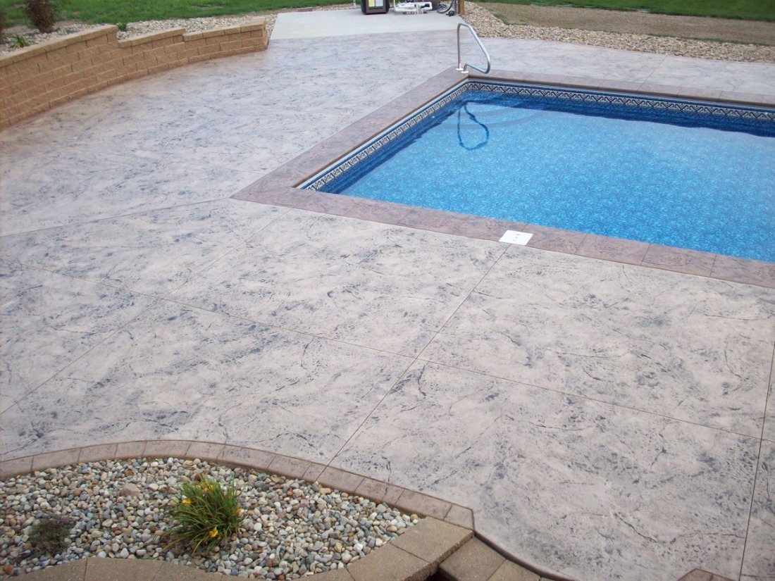 decorative concrete around in ground michiana concrete stamping pool decks. Black Bedroom Furniture Sets. Home Design Ideas