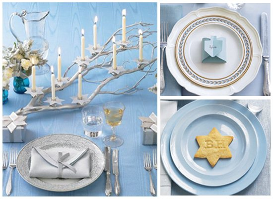 Holiday Decor Ideas 3 Hanukkah Table Settings