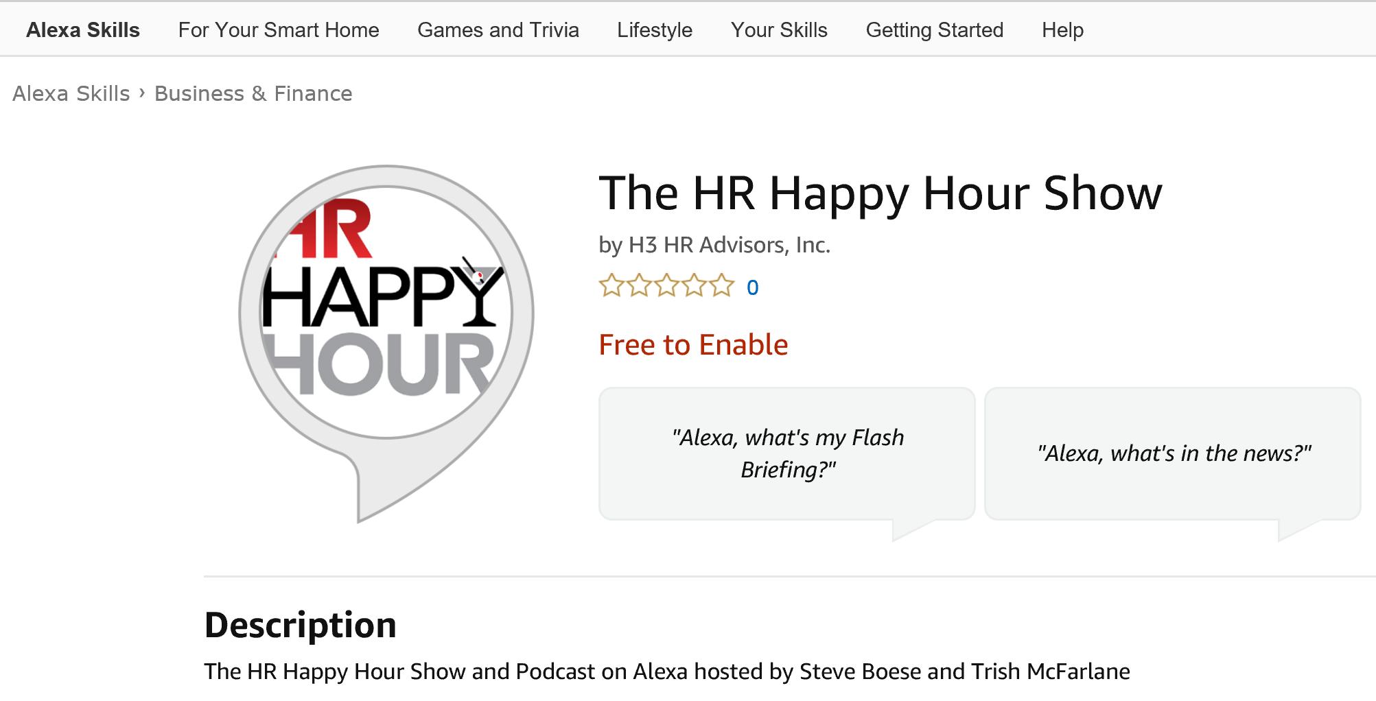 ANNOUNCEMENT: The HR Happy Hour Show on Amazon Alexa