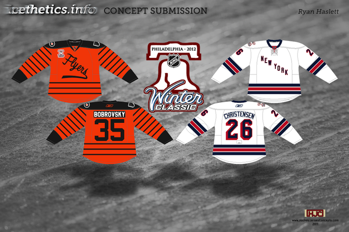 The first set is based on the rumor that the Flyers will host the Rangers  for the 2012 Winter Classic. The inspiration for the Flyers  throwback  jersey is ... a46e6d6875ba