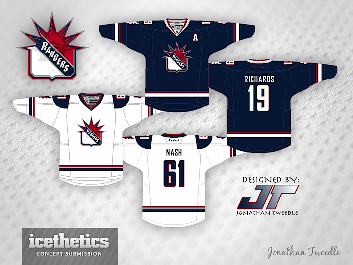 How about a Freak Out Friday for the New York Rangers  Jonathan Tweedle has  merged a couple of old NYR logo designs to come up with this. 5b0102186