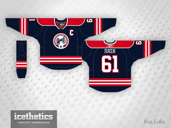 Not everyone is a fan of the vintage white-infused Columbus Blue Jackets  third  jersey. So Kris Lutes created a different option with more red. a2ac01e6b