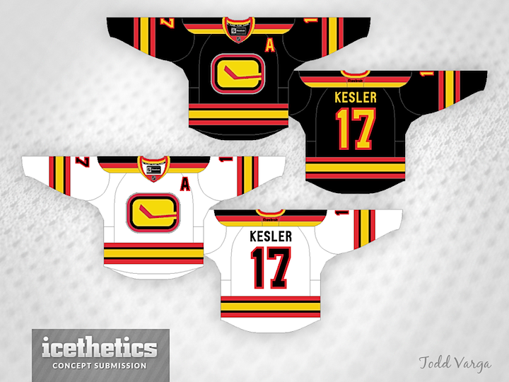 See a pattern forming here  Todd Varga added the 1980s palette to the  stick-in-rink logo. Again f290447f5