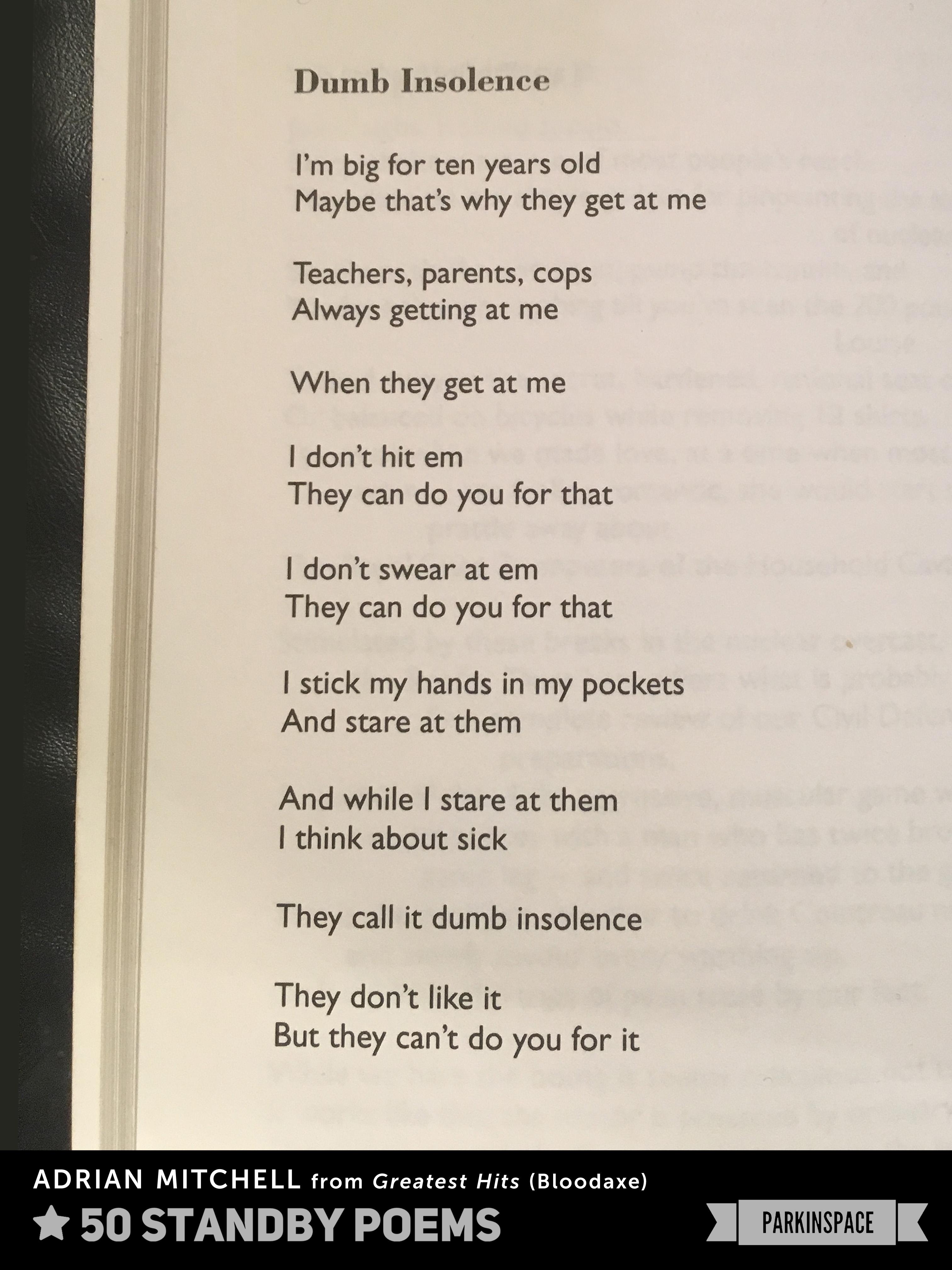 Dean Parkin S Blog Parkinspace Standby Poems Dumb