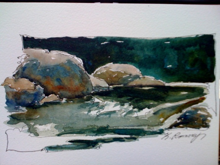 Karen Ramsay Watercolor Artist Blog River And Rock Demo