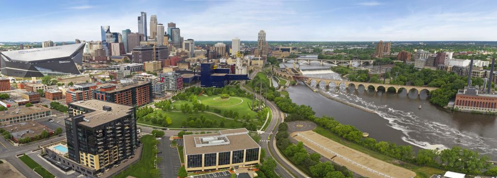 Downtown Minneapolis aerial view